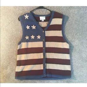 christopher & banks  american flag vest size large